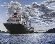 Water Painting Originals - Freighter Inviken by Richard De Wolfe