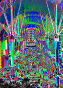 Crowds  Digital Art Prints - Fremont Street Experience Nevada Print by David Lee Thompson