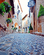 Saint Paul De Vence Framed Prints - French Alley  Framed Print by Nian Chen