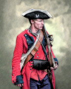 Frontier Digital Art Prints - French and Indian War British Royal American Soldier Print by Randy Steele