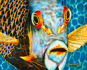 Marine Life Tapestries - Textiles Prints - French Angelfish Face Print by Daniel Jean-Baptiste