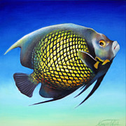 Angelfish Paintings - French Angelfish with Attitude by Nancy Tilles