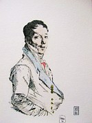 18th Century Drawings - French Aristocrat by Roberto Prusso