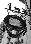 Boulangerie Prints - French Bakery Sign - Black and White Print by Carol Groenen