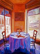 Bistro Paintings - French Bistro Table by David Lloyd Glover