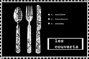 Dining Room Mixed Media Posters - French Black and White Kitchen Art Poster by Anahi DeCanio