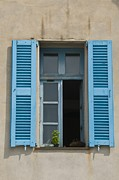 Villefranche Framed Prints - French Bleu Shutters Framed Print by Richard Henne