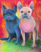 Custom Pet Portrait Prints - French Bulldog dogs white and black painting Print by Svetlana Novikova