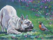 French Bulldog Paintings - French Bulldog meets Robin Redbreast by L A Shepard
