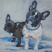 Snow Dog Posters - French Bulldog Mom and pup Poster by L A Shepard