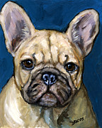 French Bulldog Paintings - French bulldog on Teal by Dottie Dracos