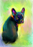 Pet Portraits Austin Prints - French Bulldog painting 4 Print by Svetlana Novikova