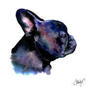 Dog Art Paintings - French Bulldog Portrait by Christy  Freeman