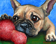 French Bulldog Paintings - French Bulldog Puppy with Toy by Dottie Dracos