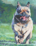 French Bulldog Paintings - French Bulldog running by Lee Ann Shepard