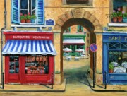 European Street Scene Paintings - French Butcher Shop by Marilyn Dunlap