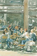 Cafe Terrace Painting Posters - French cafe scene  Poster by Ian Osborne