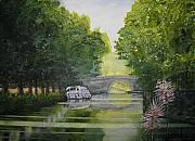 Canal Painting Originals - French Canal by Shirley Braithwaite Hunt