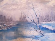 Snowscape Paintings - French Castle on Ice by Randy Edwards