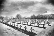 Monotone Prints - French Cemetery Print by Simon Marsden