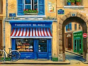 Bicycle Art Posters - French Cheese Shop Poster by Marilyn Dunlap