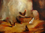 Chickens Paintings - French Chickens by Jeff Hunter