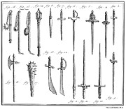 Chevalier Prints - French Chivalric Weapons Print by Granger