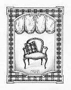 Pen Drawings Drawings Framed Prints - French Country Fauteuil Framed Print by Adam Zebediah Joseph