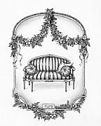 Pen And Ink Drawing Art - French Country Sofa by Adam Zebediah Joseph