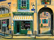 Shops Paintings - French Creperie by Marilyn Dunlap