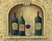 Wine-glass Paintings - French Estate Wine Collection by Marilyn Dunlap