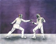 Fencing Paintings - French Fencing Competition by Laura Ramsey