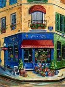 Cat Posters - French Flower Shop Poster by Marilyn Dunlap