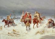 Winter Travel Painting Posters - French Forces Crossing the River Berezina in November 1812 Poster by Bogdan Willewalde