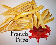 French Fries Painting Posters - French Fries Poster by Carol Grimes