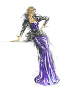 Purple Sash Posters - French Gown Fashion Illustration Poster by Sharon Barner
