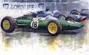 Hill Painting Framed Prints - French GP 1963 Start Lotus vs BRM Framed Print by Yuriy  Shevchuk