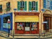 European Street Scene Art - French Hats and Purses Boutique by Marilyn Dunlap