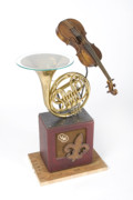 Violin Sculptures - French Horn And Violin Table by Benjamin Bullins