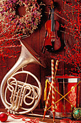 Ribbons Framed Prints - French horn Christmas still life Framed Print by Garry Gay