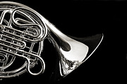 French Horn Isolated On Back Print by M K  Miller