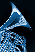 French Horn Prints - French Horn Isolated on Black Print by M K  Miller