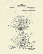 Patent Drawings Posters - French Horn Musical Instrument 1914 Patent Poster by Prior Art Design