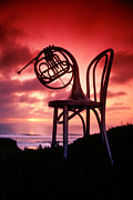 Brass Framed Prints - French horn on chair Framed Print by Garry Gay