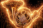Horns Photos - French horn outlined with sparks by Garry Gay