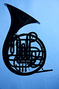 French Horn Prints - French Horn Silhouette on Blue Print by M K  Miller