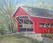 Covered Bridge Paintings - French Lick Covered Bridge by Julie Cranfill