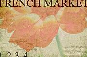 Orange Floral Framed Prints - French Market Series E Framed Print by Rebecca Cozart