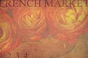 Orange Roses Posters - French Market Series N Poster by Rebecca Cozart