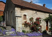 Stone House Posters - French Medieval House With Flowers Poster by Marilyn Dunlap
